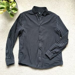 Grey and black check button down